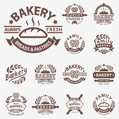 Bakery badge icon fashion modern style wheat vector retro food label design element isolated.