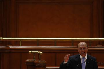 Romania's President Basescu addresses parliament in Bucharest