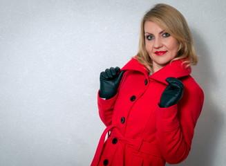 Pretty woman in winter clothes