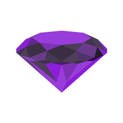 Diamond icon. Vector Illustration. Shiny crystal sign. Brilliant stone. Violet stone isolated on white background. Fashion modern design. Flat element. Symbol gift, jewel, gem or royal, rich.