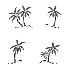 Palm trees silhouette on island. Vector illustration. Tropical exotic plant isolated on background. Modern hipster style apparel, poster, brochure design.