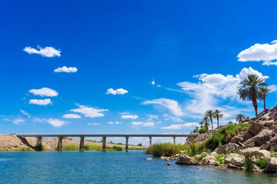 Colorado River Bridge under blue sky in Yuma Arizona