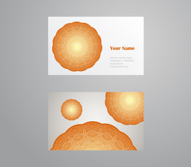 Vector template business card. Geometric background. Card or invitation collection. Islam, Arabic, ottoman motifs