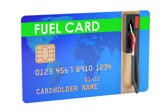 Fuel card with gas pump nozzle, 3D rendering