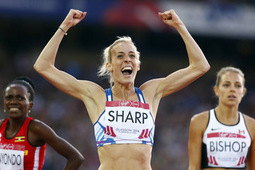 Lynsey Sharp of Scotland reacts after finishing in second place in the women's 800m race at the 2014 Commonwealth Games in Glasgow