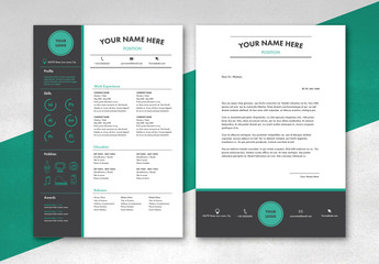 Teal and Gray CV and Cover Letter