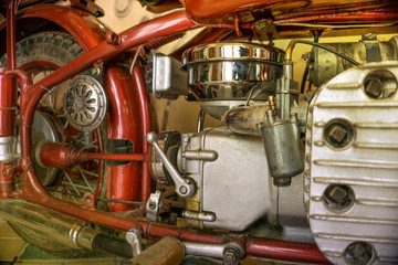 Side view of an old classic motorbike engine.Old motorbike engine.