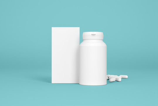 Box and bottle of pills on the blue background. Pharmacy mockups for meds presentations, BADs and other kinds of pharmaceutical products. Front view.