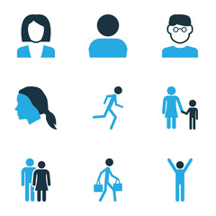 People Colorful Icons Set. Collection Of Business, Child, Happiness And Other Elements. Also Includes Symbols Such As Businesswoman, Pulling, Human.