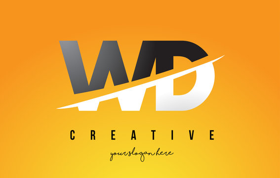 WD W D Letter Modern Logo Design with Yellow Background and Swoosh.