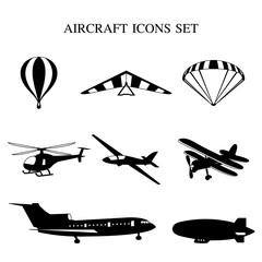 Vector illustration of set of airplanes silhouettes