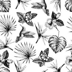 Vecotr hand drawn seamless pattern. tropical plants. Exotic engraved leaves and flowers. Monstera, livistona palm leaves, bird of paradise, plumeria, hibiscus, hummingbird.