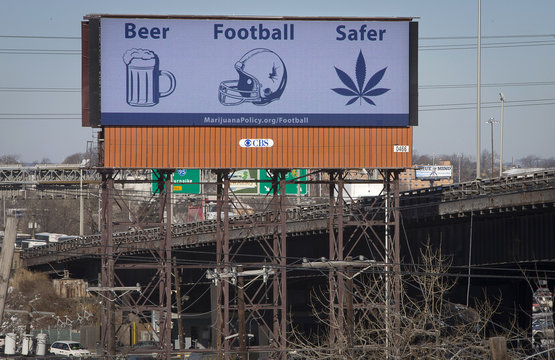 A billboard advertising the belief that marijuana is safer than alcohol or football is pictured alongside highway 495 in Secaucus, New Jersey