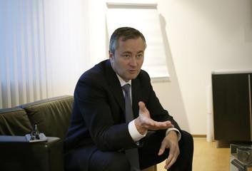 Telekom Austria CEO Ametsreiter talks during an interview with Reuters in Vienna