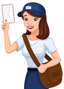Vector illustration of a female cartoon mail carrier holding an envelope.