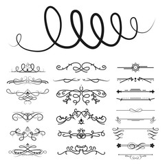 Collection of vector dividers calligraphic style vintage border frame design decorative illustration.