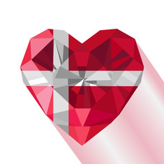 Crystal gem jewelry Danish heart with the flag of the Kingdom of Denmark.