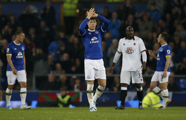 Everton's Ross Barkley applauds fans as he is substituted off