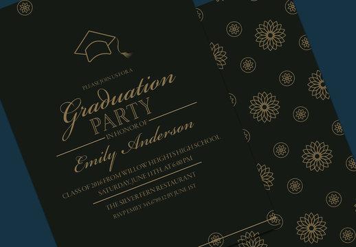 Black and Gold Graduation Invitation Layout