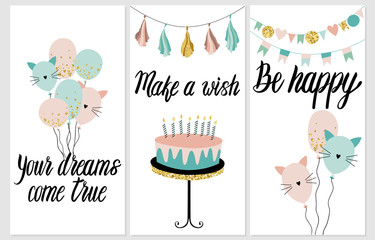 Happy Birthday Party cards set