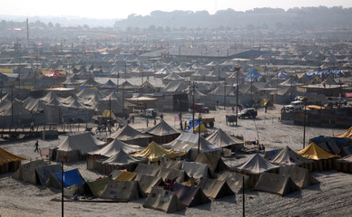 A giant tent city built for pilgrims attending the Magh Mela is pictured in Allahabad
