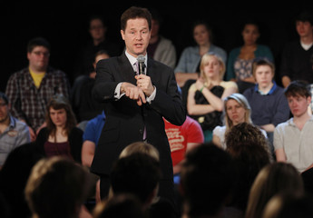 Britain's Liberal Democrat leader, Nick Clegg, speaks at a campaign event in Cardiff University