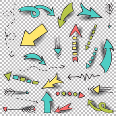 Vector arrow set. Hand drawn sketch with different size arrows on transparent background. Easy to use and modify illustrations with realistic shadows