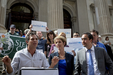Actor and activist Ruffalo endorses New York State democratic governor candidate Teachout and lieutenant governor Wu during a campaign event in New York
