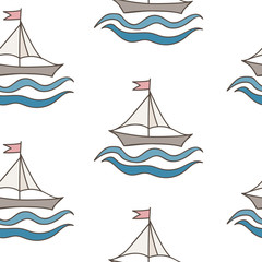Seamless pattern with colorful ship with flag and wave
