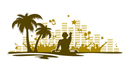 Silhouette DJ Sommerparty