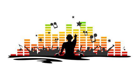 Silhouette DJ und Fans