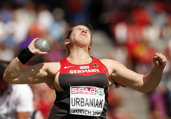 Urbaniak of Germany competes in the women's shot put final final during the European Athletics Championships at the Letzigrund Stadium in Zurich