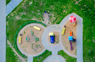 Children's playground with a bird's-eye view.