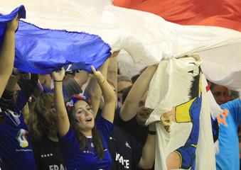 Slovenia's fans cheer during game against France at their Men's European Handball Championship main round match in Novi Sad