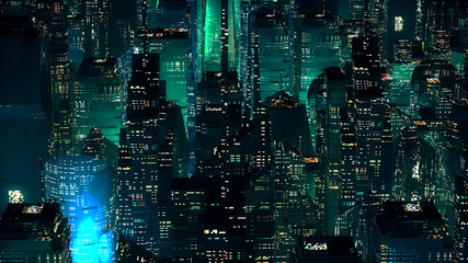 Green neon city skyscrapers modern technology concept