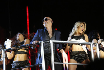 "Pitbull performs ""Echa Pa'lla"" during the 14th Latin Grammy Awards in Las Vegas"