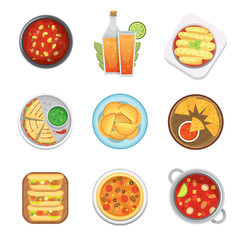 Mexican traditional food top view plates isolated a lunch sauce cuisine vector illustration