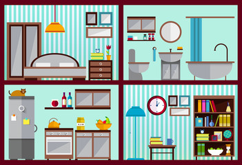 Set of vector interiors with furniture