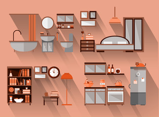 Flat illustration of house in cut