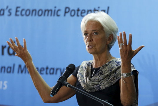 International Monetary Fund (IMF) Managing Director Christine Lagarde gestures as she speaks at a public lecture at the University of Indonesia in Jakarta