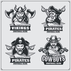 Football badges, labels and design elements. Sport club emblems with pirate,cowboy and viking.