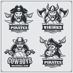Volleyball badges, labels and design elements. Sport club emblems with pirate,cowboy and viking.