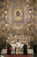 Pope Benedict XVI attends a meeting with seminarians at the Romano Maggiore seminary in Rome