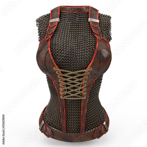 Female chain armor made of metal on isolated white