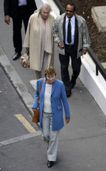 Marisa Bruni-Tedeschi, the mother of France's first lady Carla Bruni-Sarkozy, leaves the maternity clinic, Clinique de la Muette, in Paris