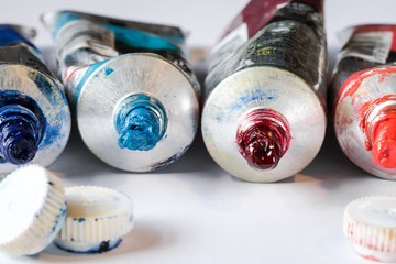 Artist's paint tubes and caps