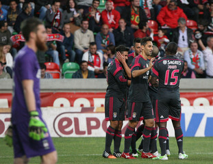 Benfica's players celebrate a goal against Maritimo during their Portuguese premier league soccer match in Funchal