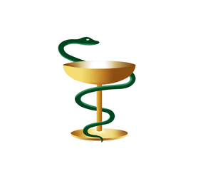 Medical symbol is snake and bowl
