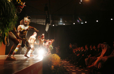 "An aboriginal dance troupe performs for G20 leaders during a traditional ""Welcome to Country"" event at the G20 leaders summit in Brisbane"
