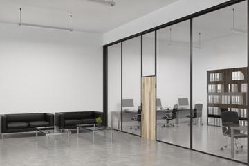 Glass office wooden door, lobby, side